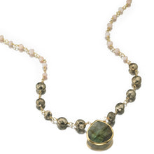 Load image into Gallery viewer, ela rae ara pendant necklace pyrite pink opal labradorite 14k yellow gold plate