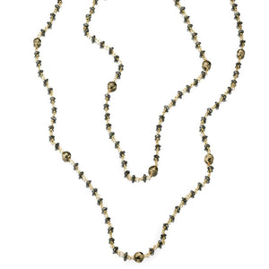 ela rae diana satellite necklace hematite pyrite 14k yellow gold plate