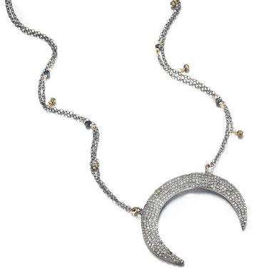 ela rae eliza horn necklace diamond sterling silver