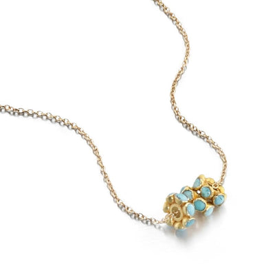 ela rae angie stone trio necklace turquoise 14k yellow gold