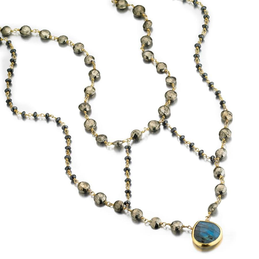 ela rae cleo necklace pyrite hematite labradorite 14k yellow gold plate