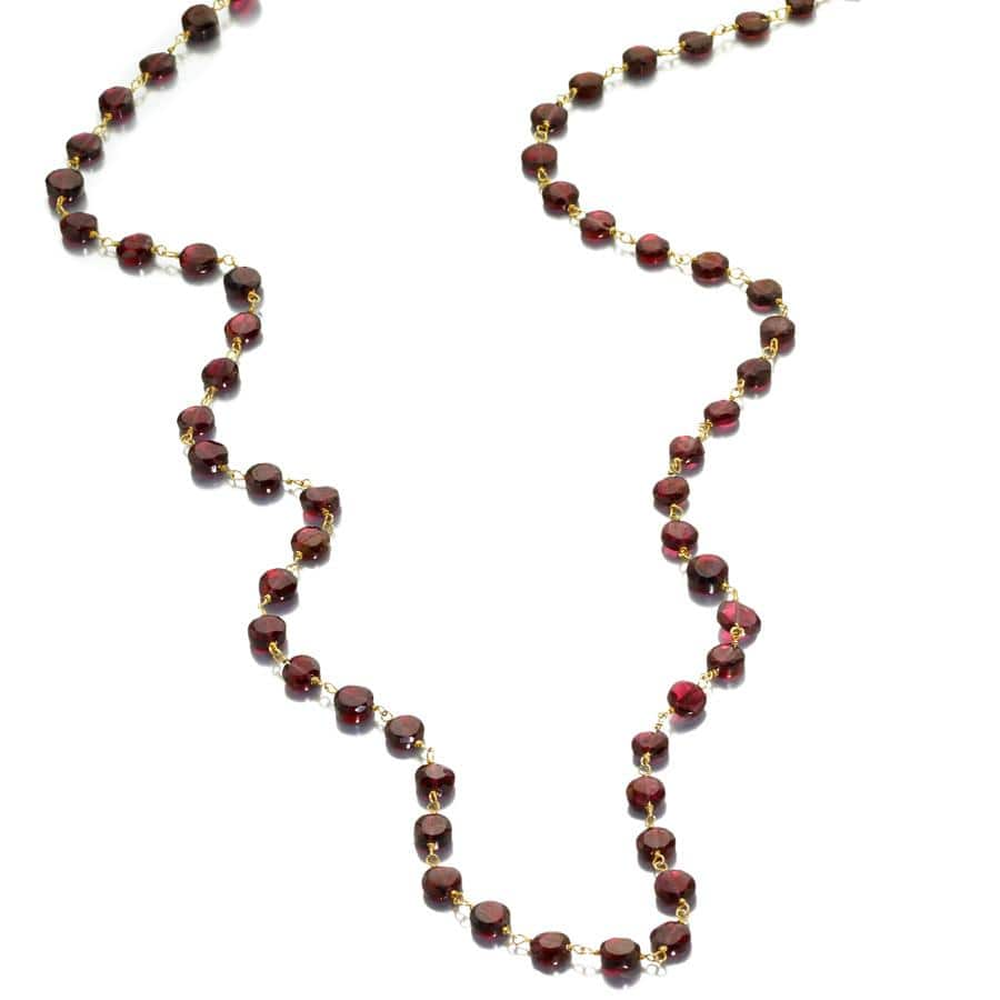 ela rae diana coin necklace garnet 14k yellow gold plate