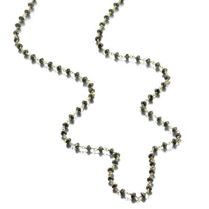 ela rae diana rondelle necklace hematite 14k yellow gold plate