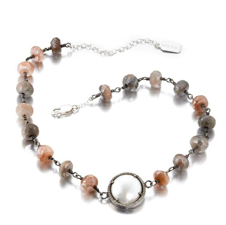 ela rae libi grand luxe necklace diamond pearl pink moonstone sterling silver