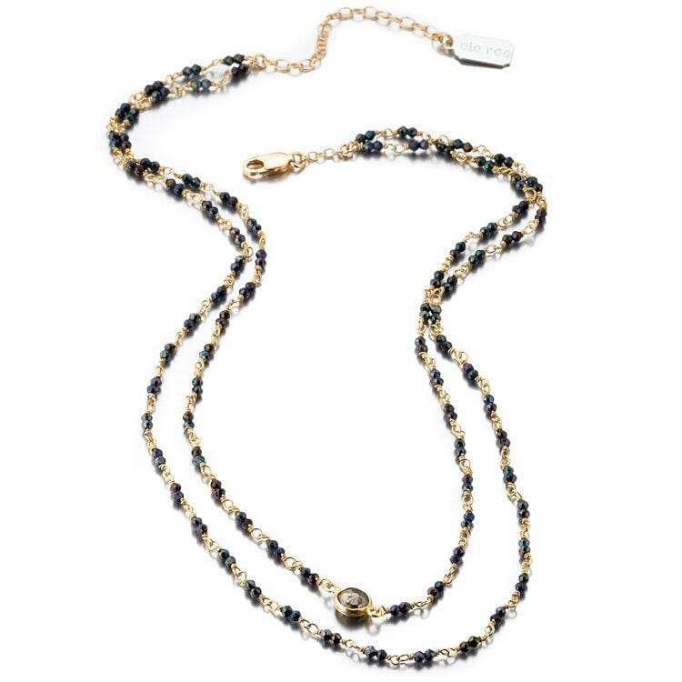 ela rae libi double strand necklace mystic black spinel 14k yellow gold plate