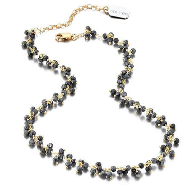 ela rae libi shaker mystic black spinel necklace 14k yellow gold plate