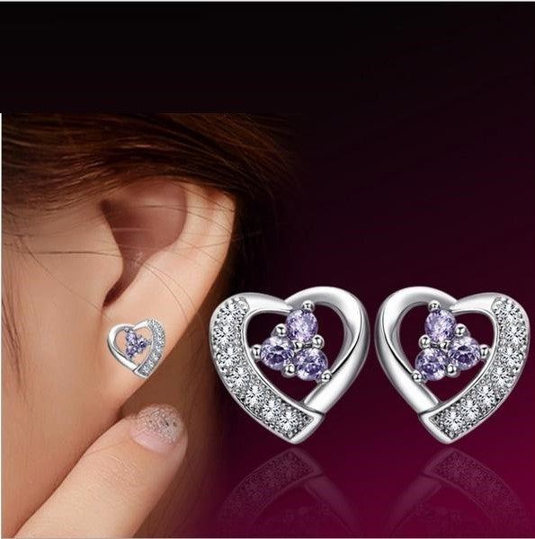 STERLING HEART SHAPED STUD EARRINGS