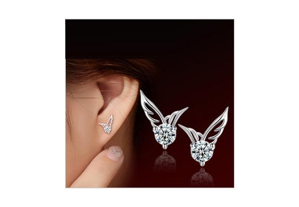 ANGEL SHAPED SILVER STUD EARRINGS