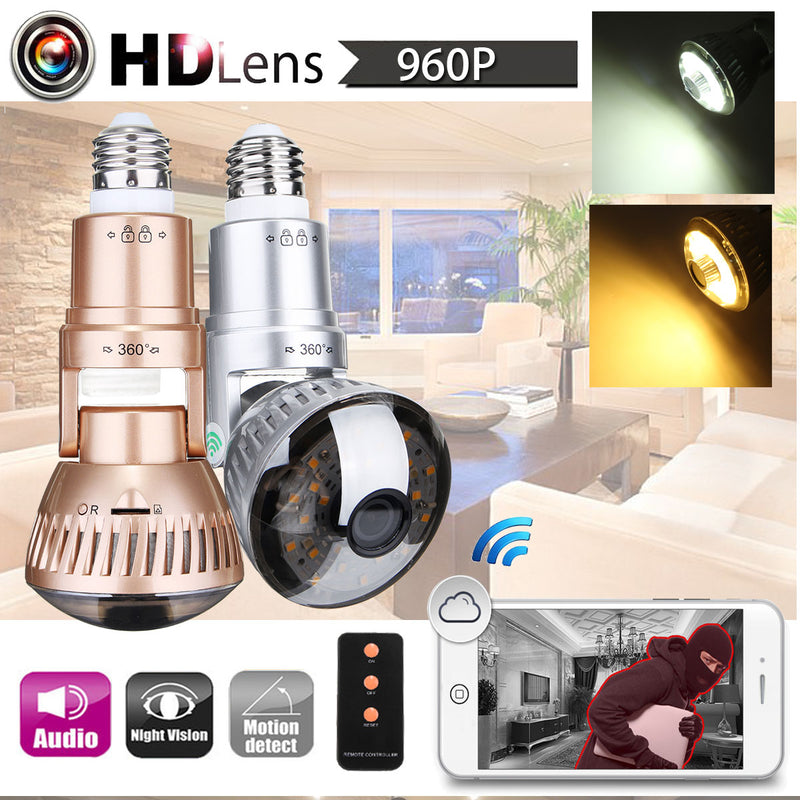 Wireless Security Camera LED Light Bulb with Motion Detection and Night Vision