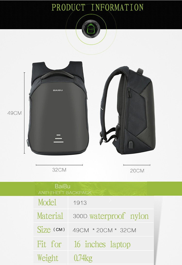 Anti-Theft Laptop Travel Backpack