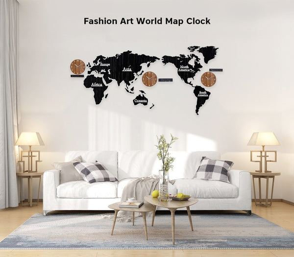 Wooden World Map Wall Clock