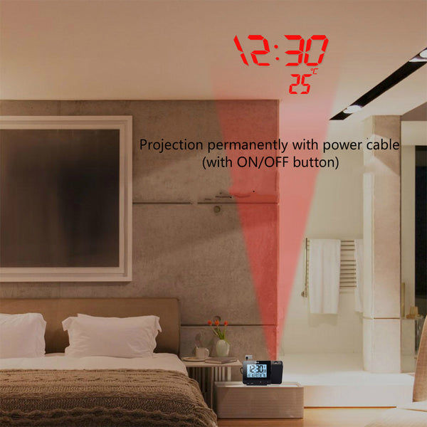 Projection Desk Clock with Temperature and Humidity