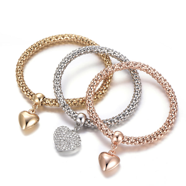 Crystal Owl Charm and Heart Bracelets and Bangles