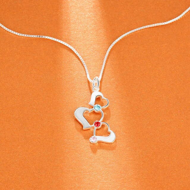 3 Heart Glistening Personalized Heart Necklaces