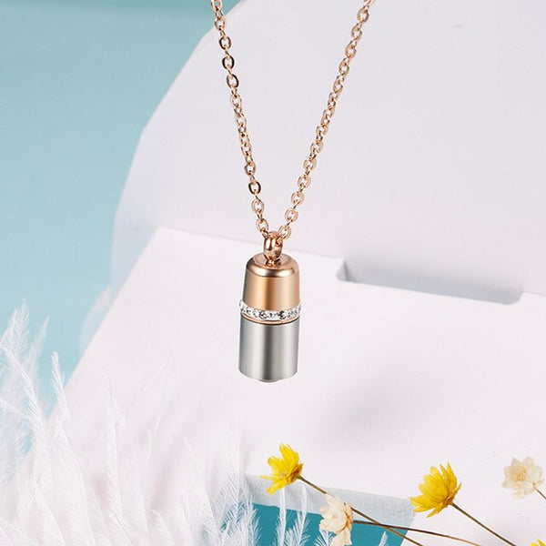 TITANIUM LIGHT PROJECTING CAPSULE NECKLACES