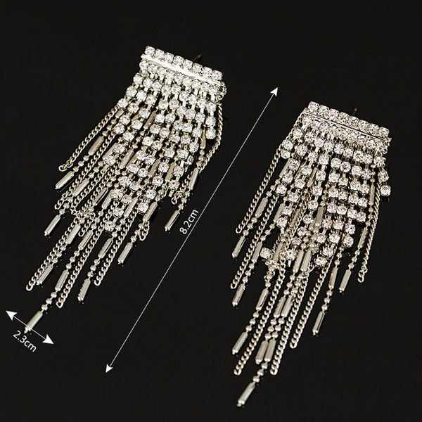 MULTIPATTERNED DROPPING CRYSTAL EARRINGS