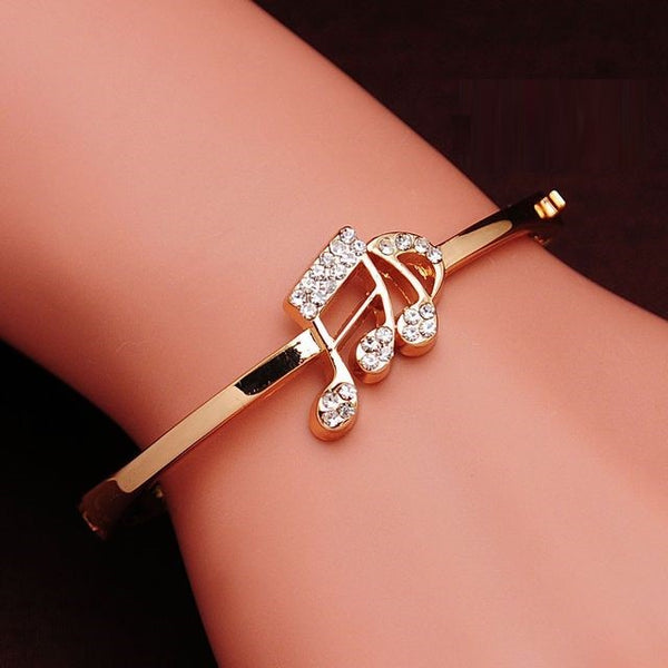 Musical Notes Charm Bracelets with Zirconia