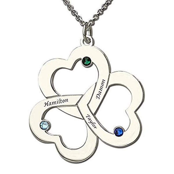TRIPLE HEART NAME MOTHER LOVE NECKLACES