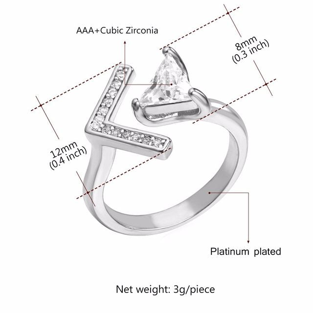V-Shaped Zircon Embedded Wedding Rings