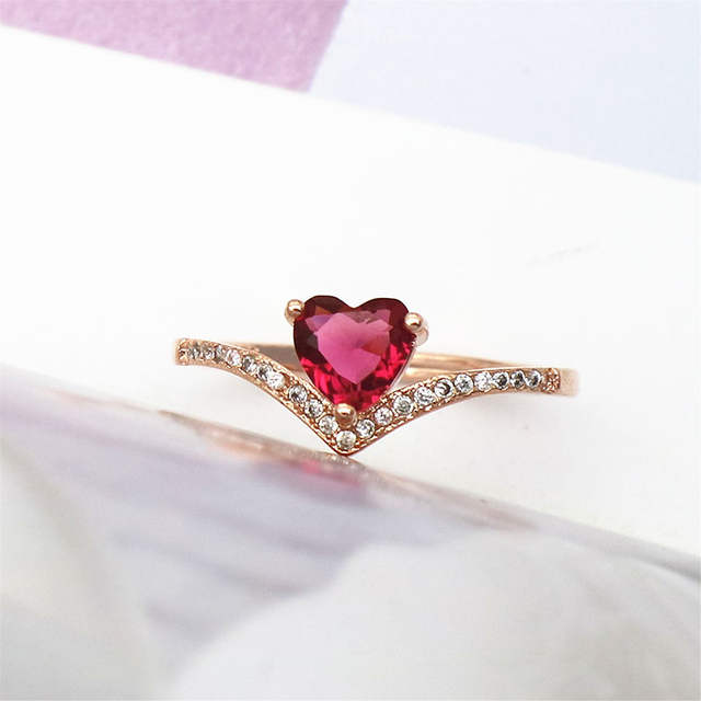 Stunning Red Stone Heart Rings