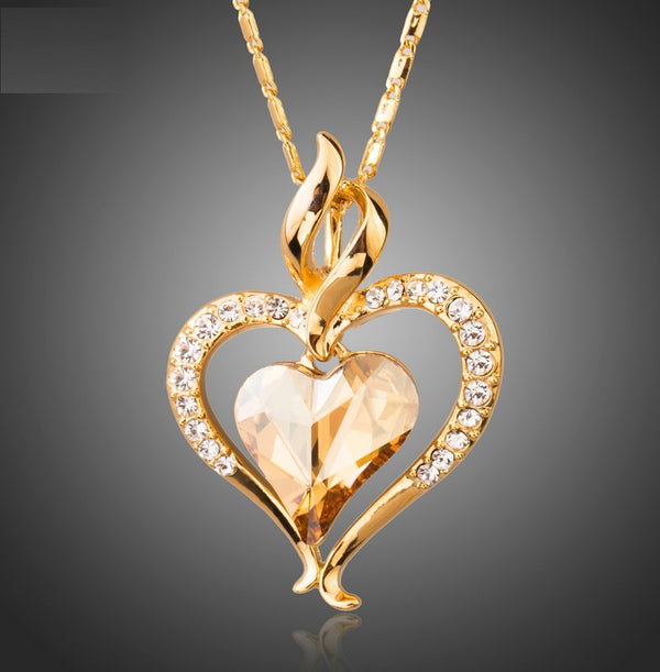 Austrian Crystal Embedded Pendant Necklaces
