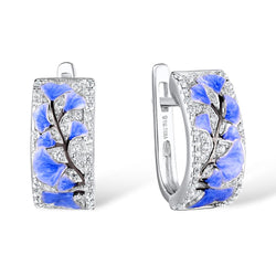 Zircon Embedded Glistening Blue Flowers Tree Earrings