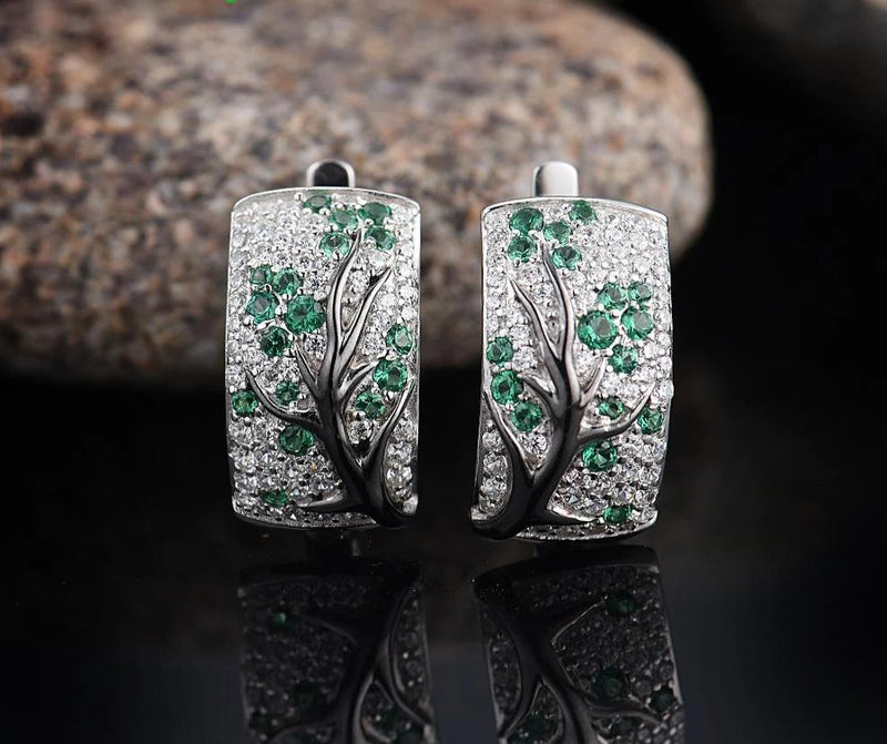 Zircon Embedded Glistening Green Cherry Tree Earrings