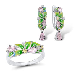 Zircon Embedded Glistening Elegant Green Leaves Earrings and Rings