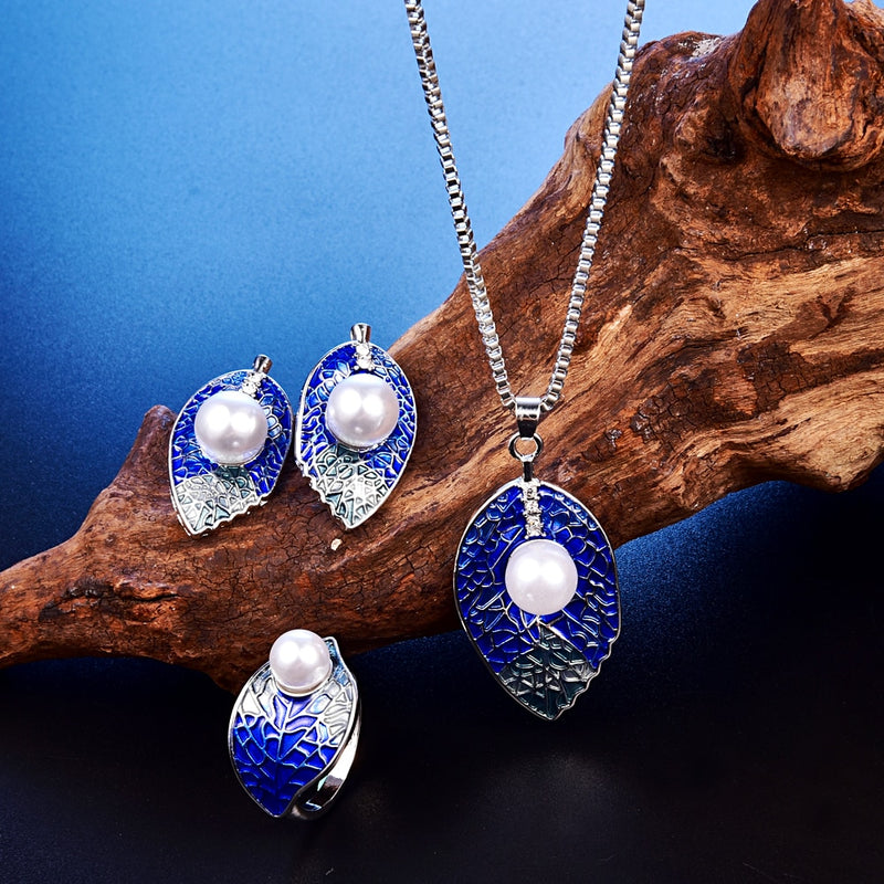 Enamel Silver Leaf Jewelry Set