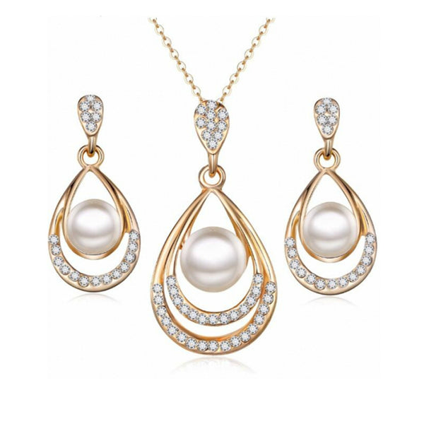 Sparkling Simulated Pearl Jewelry Set