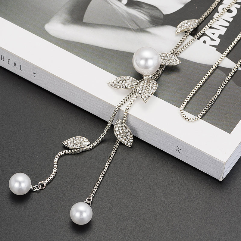 LEAF PEARL COLLAR NECKLACE FOR WOMEN