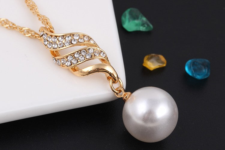 Crystal Gold Jewelry Set For Women