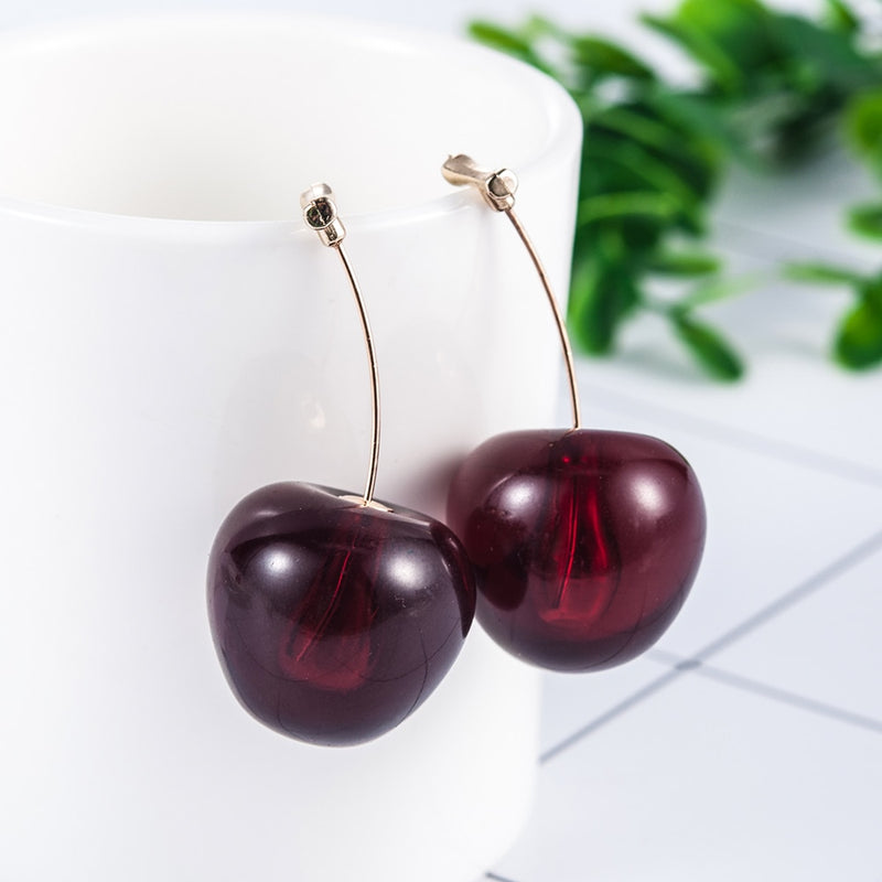 Trendy Red Cherry Earrings