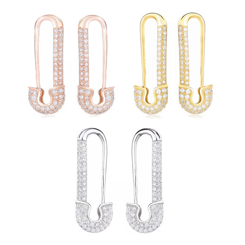 STERLING SAFETY PIN EARRINGS
