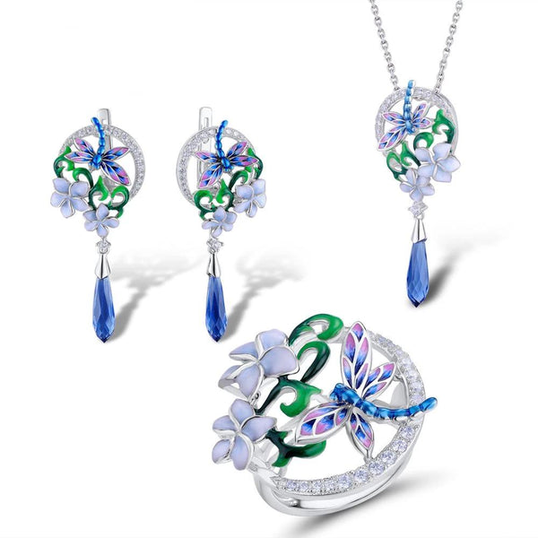 Handmade Zircon Embedded Glistening Dragonfly Flowers Jewelry Set