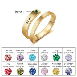 Personalized Engraved Birthstone Rings