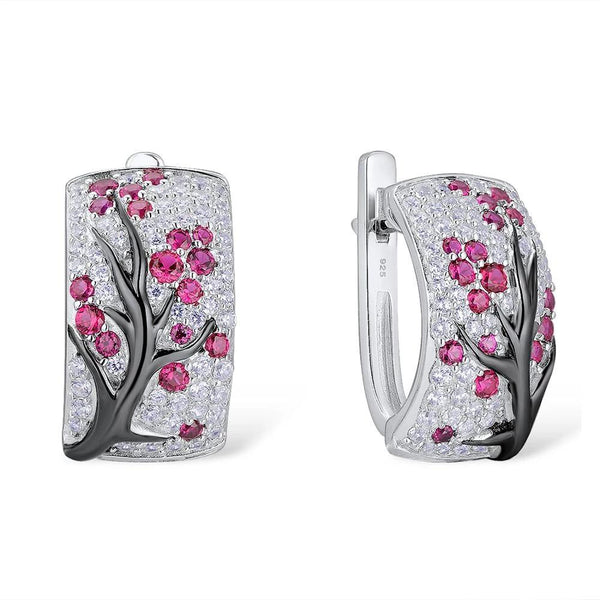 Zircon Embedded Glistening Pink Cherry Tree Earrings
