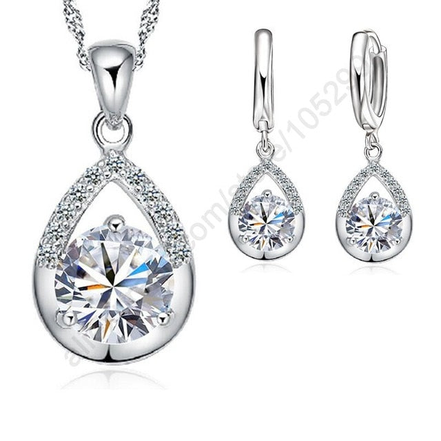 Classy Austrian Silver Jewelry Set for Wedding
