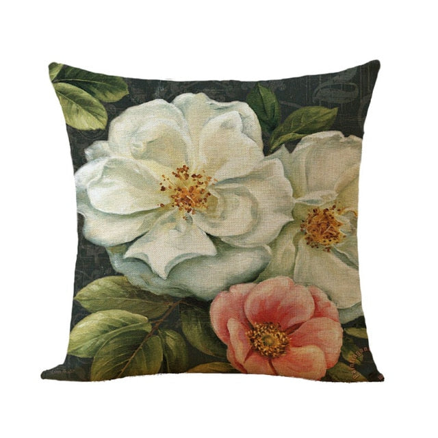 Vintage Style Flowers Pattern Cushion