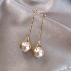 PEARL ALLOY DROP EARRINGS