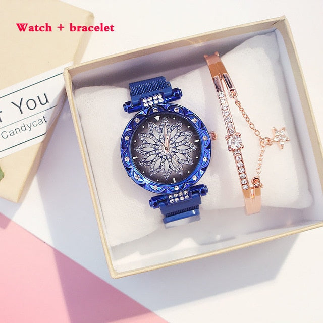 Rhinestone Lucky Flower Watch Bracelet