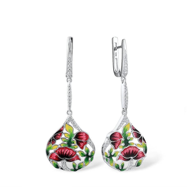 Zircon Embedded Glistening Red Flowers Earrings