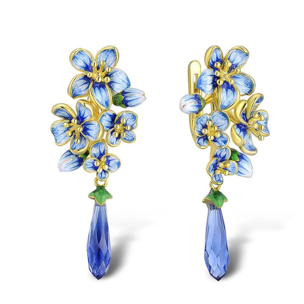 Zircon Embedded Glistening Blue Flowers Earrings