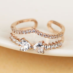 Zircon Embedded Double-Layered Women's Rings