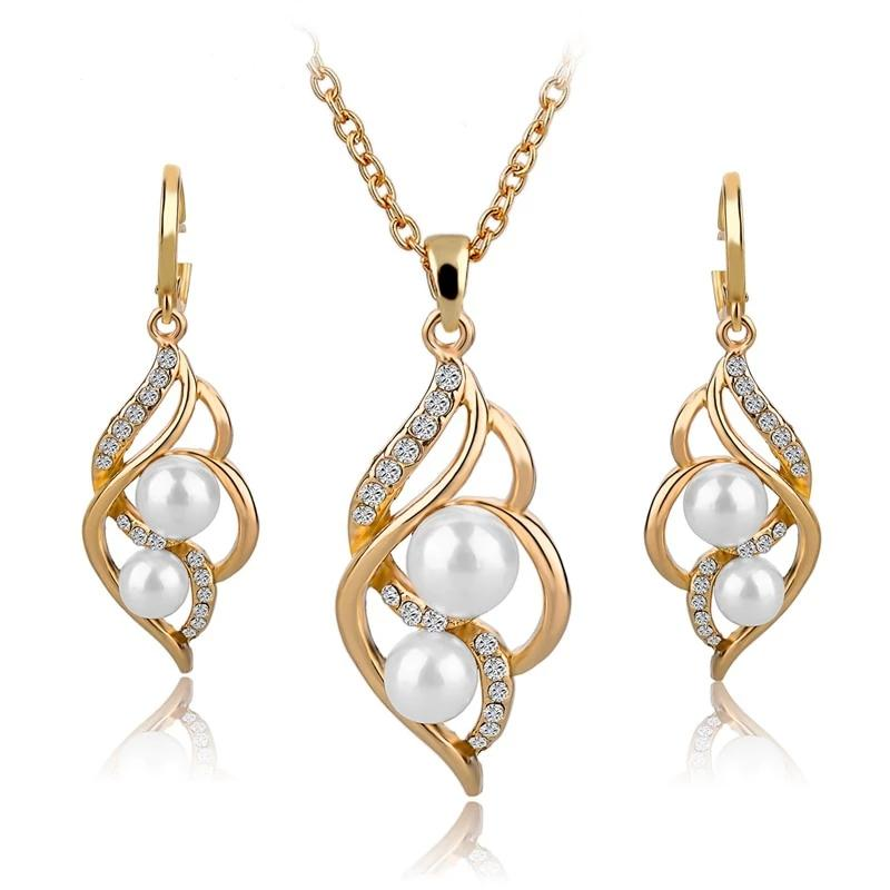 Elegant Inlaid Crystal Jewelry Set