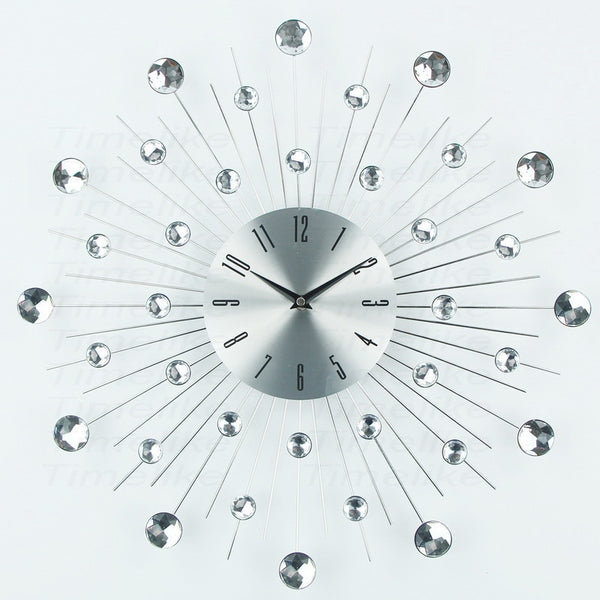 Large Metal Crystal Sunburst Wall Clock