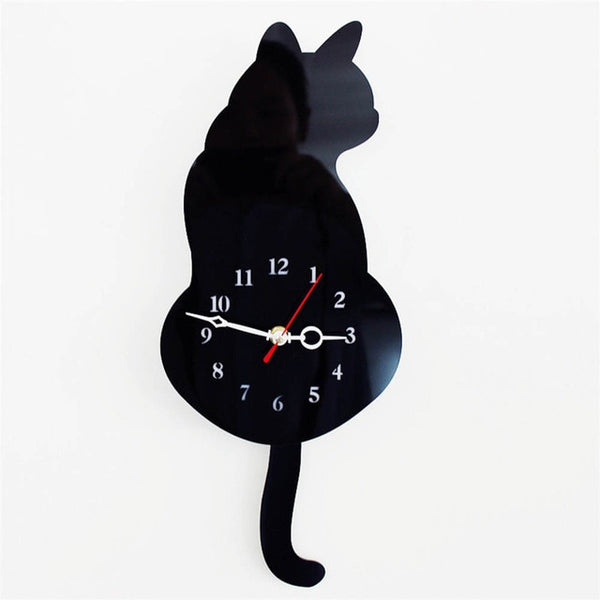 Wagging Tail Cat Acrylic Wall Clock