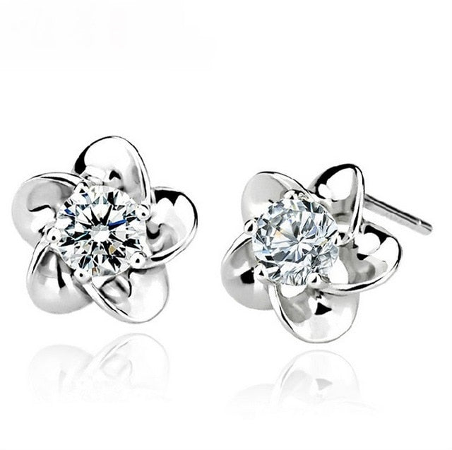 STERLING FLOWER SHAPED SILVER EARRINGS