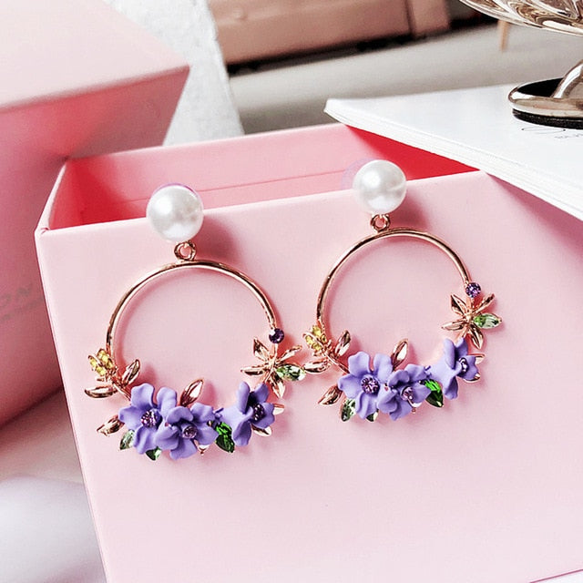 Elegant Rhinestone Flower Earrings