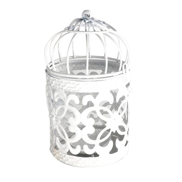 White Lantern Metal Candle Holder